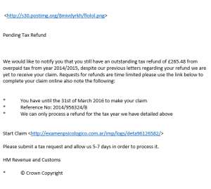 An example HMRC Refund SPAM E-Mail